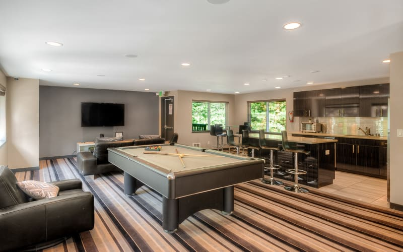 Game room at Karbon Apartments in Newcastle, Washington