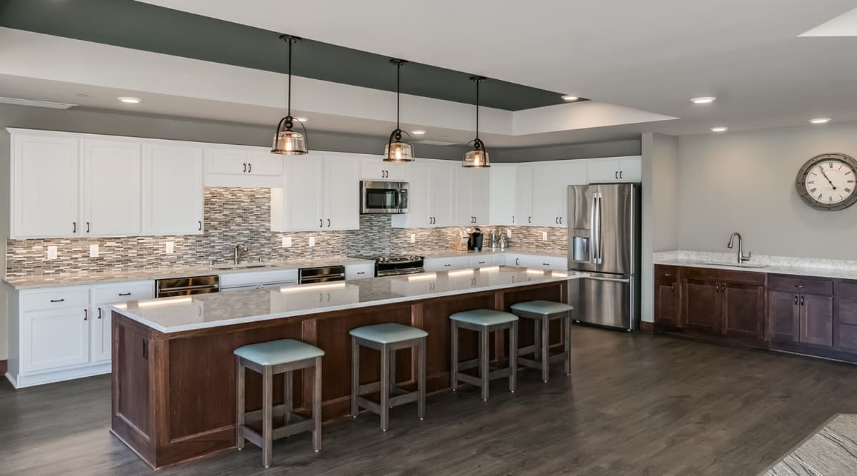 Community kitchen at Applewood Pointe of Apple Valley in Apple Valley, Minnesota.