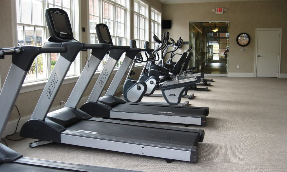 Treadmills inside of the fitness center at The Elms of Bloomfield in Bloomfield, New York
