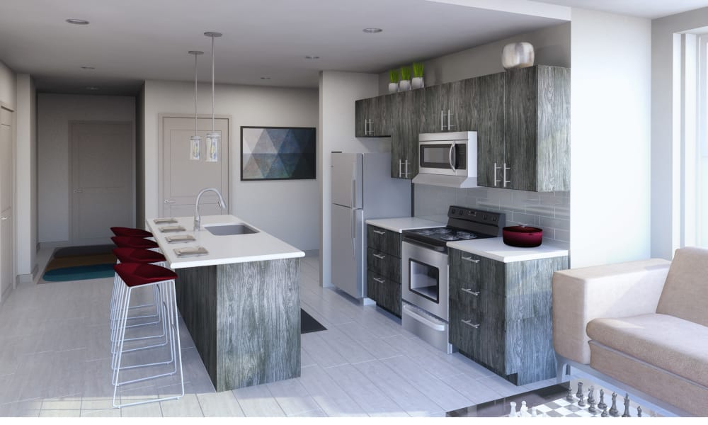 Updated kitchen at The Linc in Rochester, NY