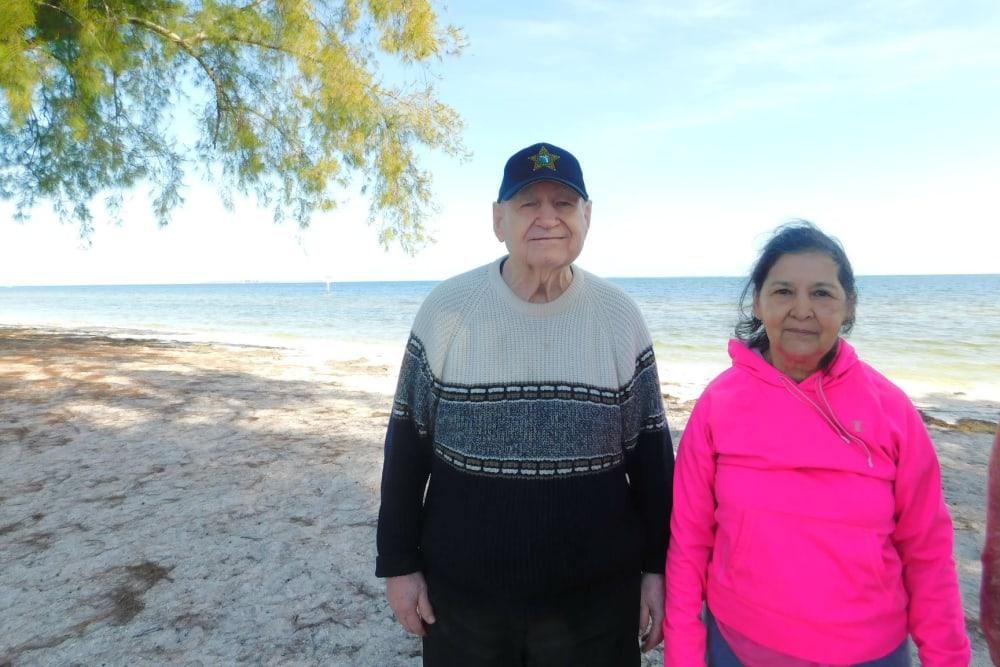 Two residents on an outing to the beach near Bradenton Oaks in Bradenton, Florida