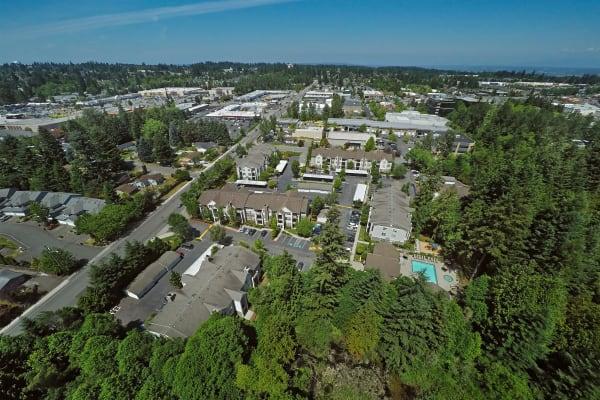 Aerial view of the neighborhood near Wildreed Apartments in Everett, Washington