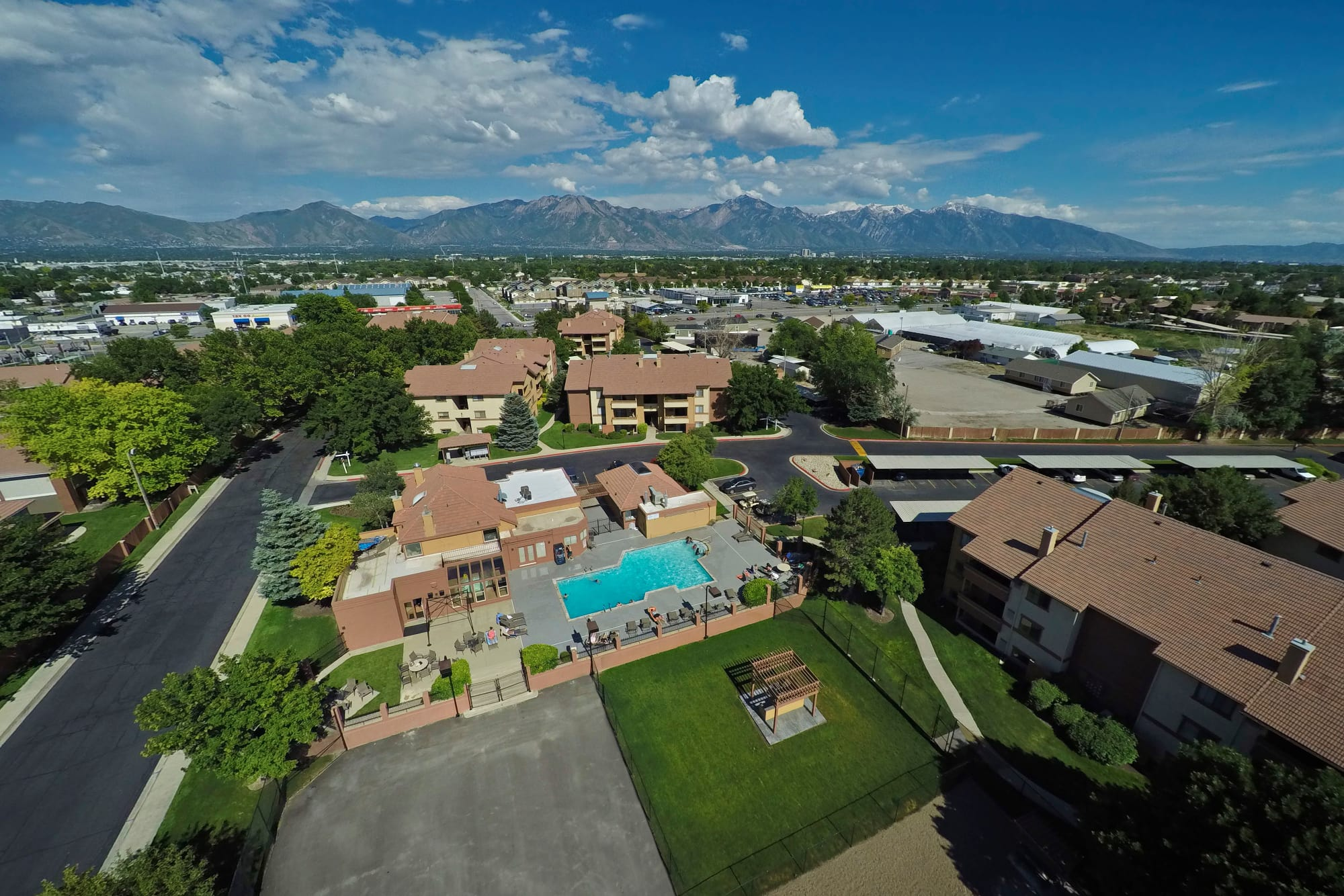 Aerial view of the property and surrounding area at Shadowbrook Apartments in West Valley City, Utah