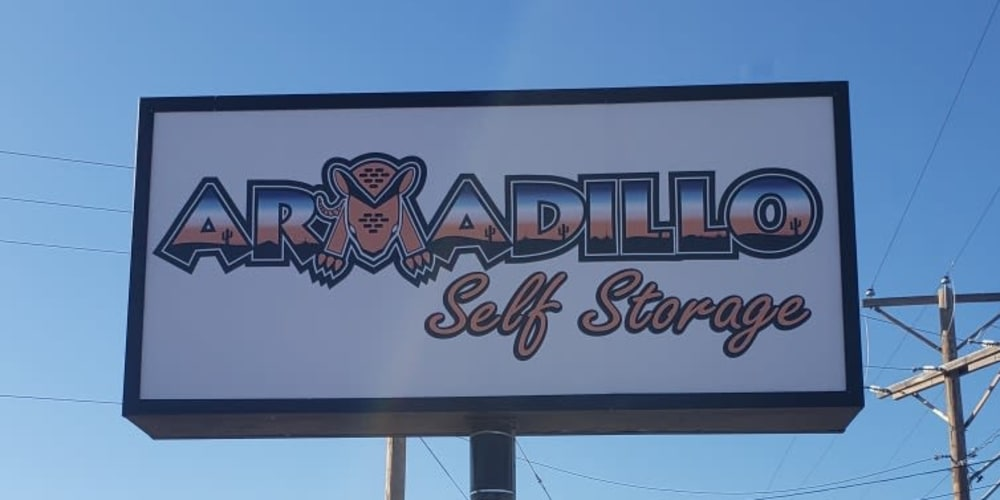 Sign advertising First Month Free at Armadillo Self Storage in El Paso, Texas