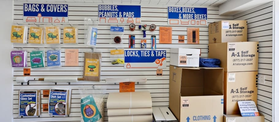 Packing and moving supplies offered at A-1 Self Storage in Oceanside, California