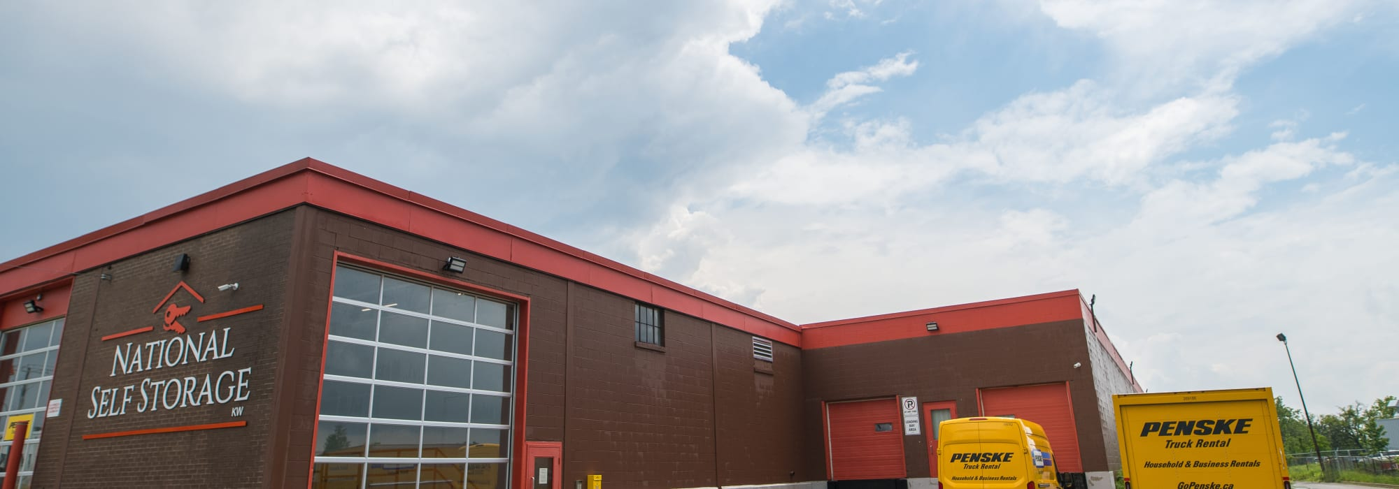 The exterior of National Self Storage in Kitchener, Ontario
