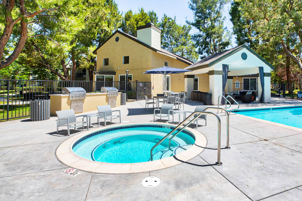 Inviting spa near the barbecue and pool areas at Mountain Vista in Victorville, California