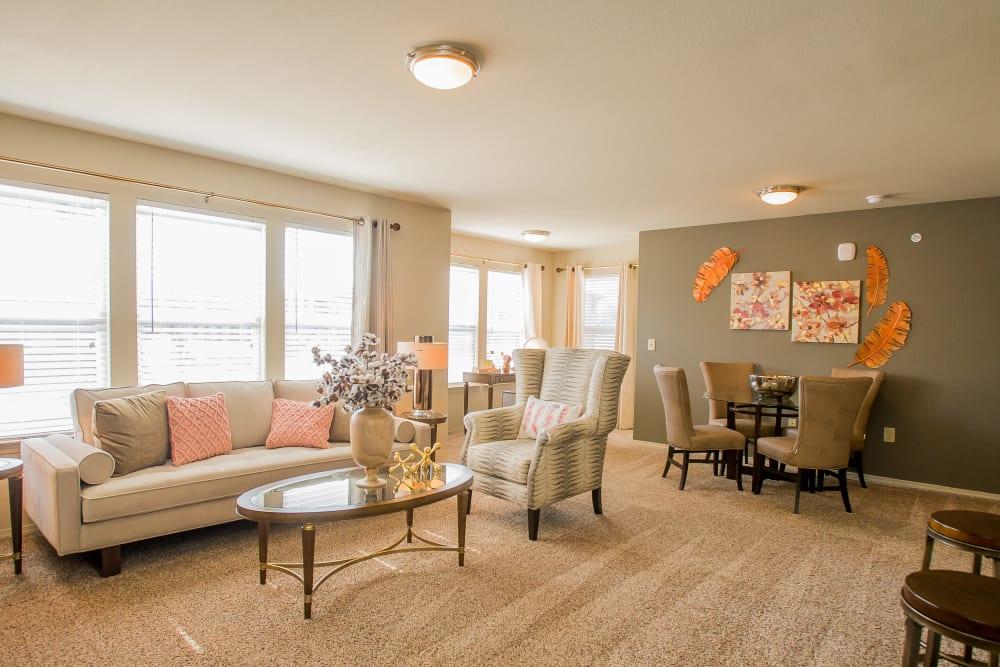 Bright living room at Icon at Broken Arrow in Broken Arrow, Oklahoma