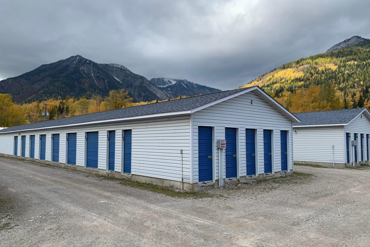 Exterior storage units at CityBox Storage in Fernie, British Columbia