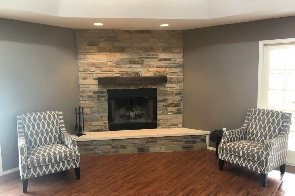Fireplace at Westport Apartments in Angleton, Texas
