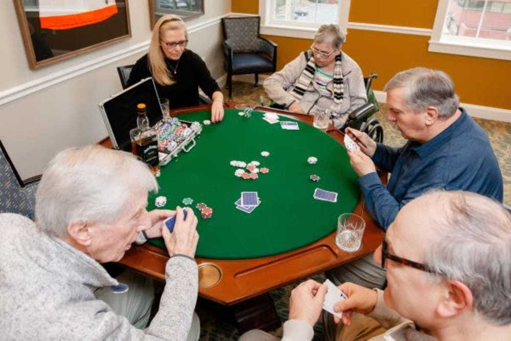 Residents playing cards at Mercer Hill at Doylestown in Doylestown, Pennsylvania