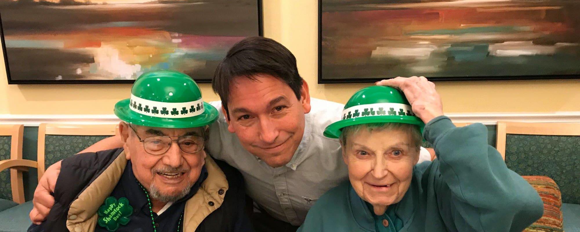 Seniors at Cottonwood Creek celebrate St. Patrick's Day!