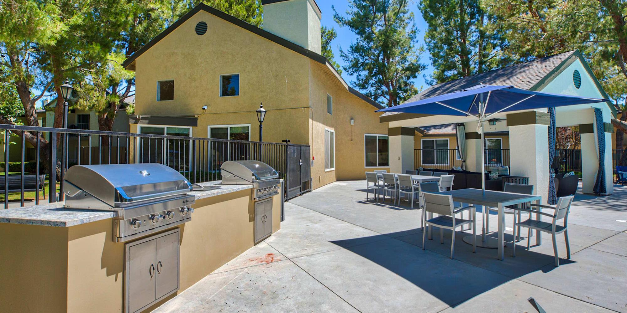 Gas barbecue grills near the picnic area at Mountain Vista in Victorville, California