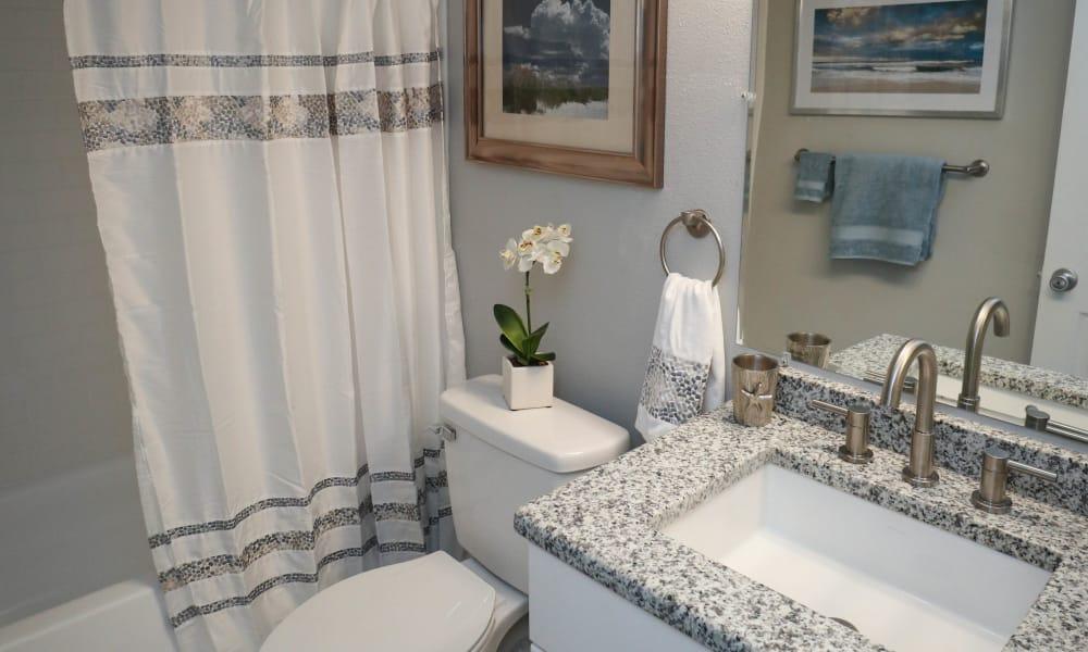 Renovated bathrooms at Ridgeview Apartments in Seminole, Florida