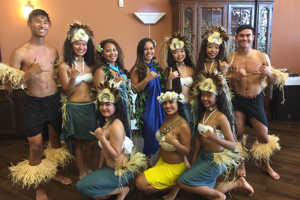 Hawaiian dancers at The Pines, A Merrill Gardens Community in Rocklin, California