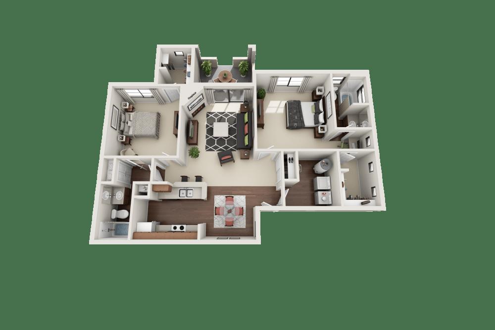 Sapphire floor plan at Ventana Canyon Apartments in Albuquerque, NM