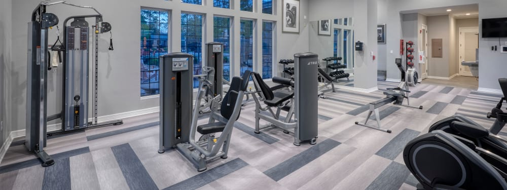 24-hour fitness center at Hawthorne Hill Apartments in Thornton, Colorado