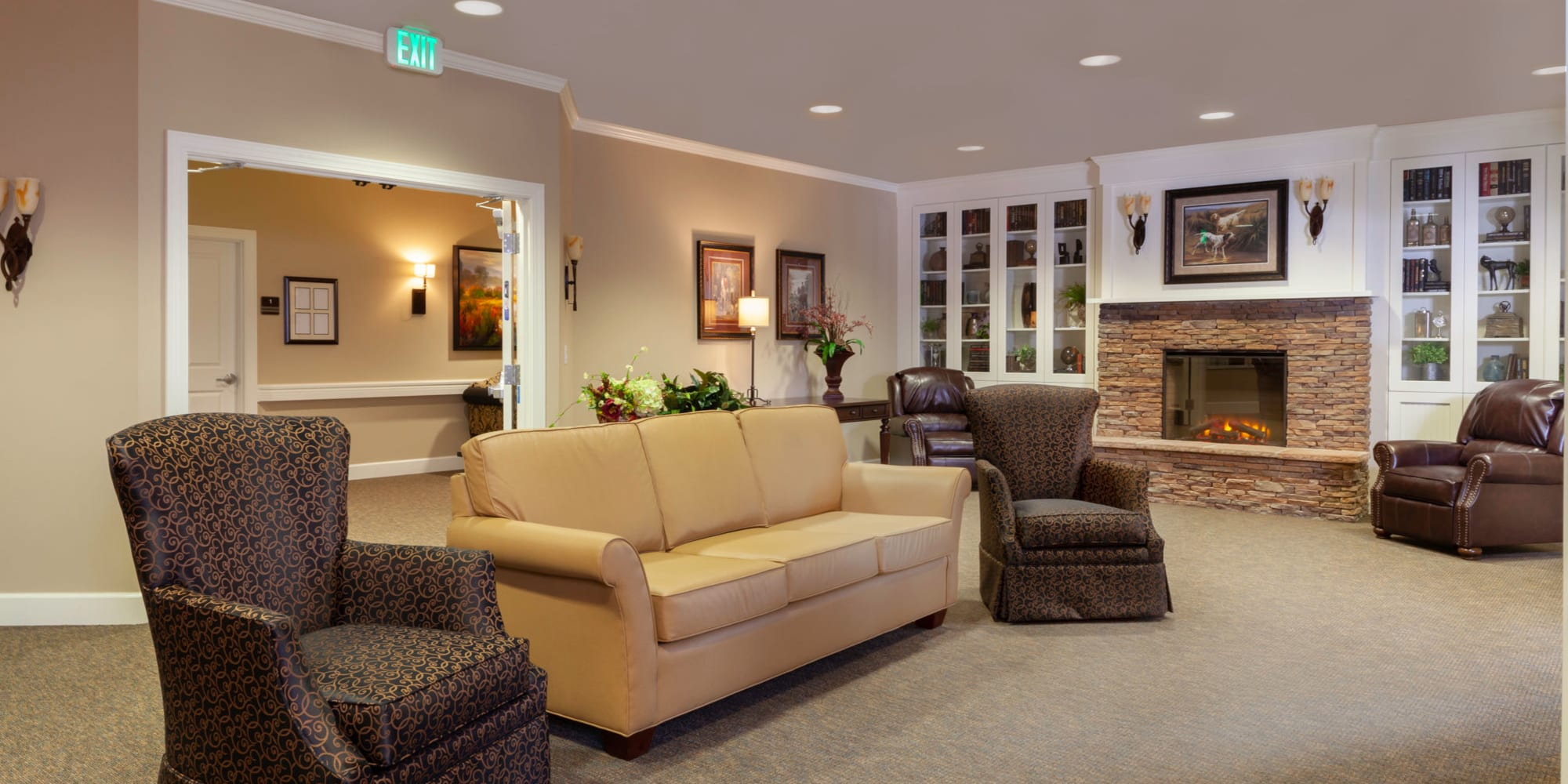 JEA Senior Living living room with fire place