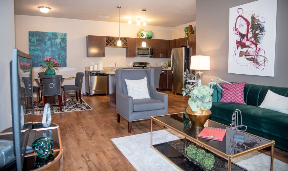 luxury living room at Springs at Country Club Apartments in Lake Charles, LA
