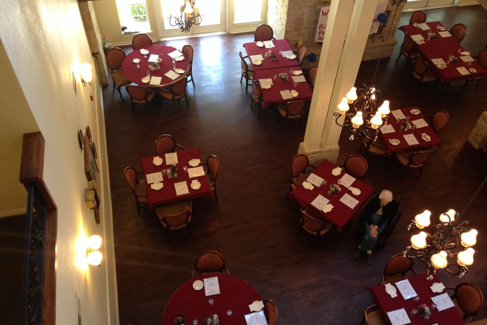 Dining room at Courtyards at Riverpark in Fort Worth, Texas.
