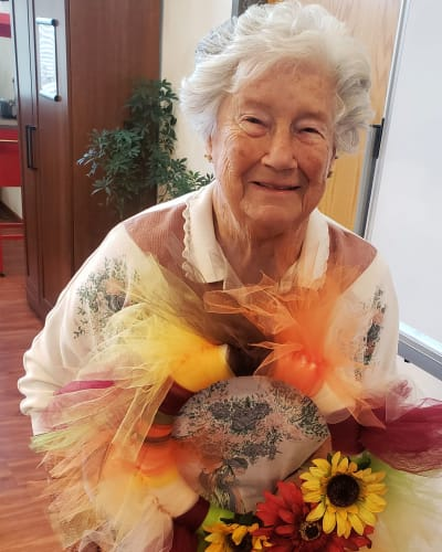 Resident made a flower wreath in a craft class at Garden Place Waterloo in Waterloo, Illinois.
