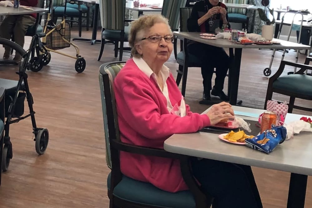 Resident at Valentine's Day celebration at Keystone Place at Wooster Heights