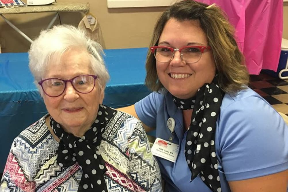 A resident and caretaker at BridgePointe Health Campus in Vincennes, Indiana