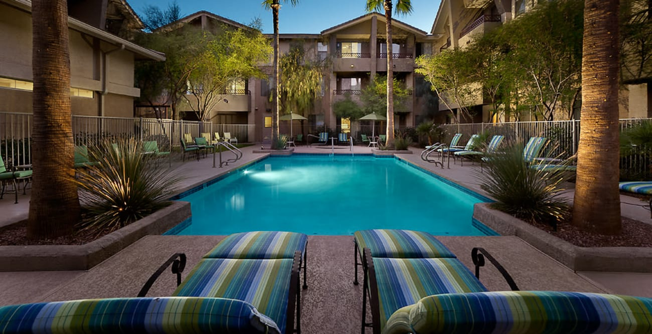 Beautiful swimming pool at McDowell Village in Scottsdale, Arizona