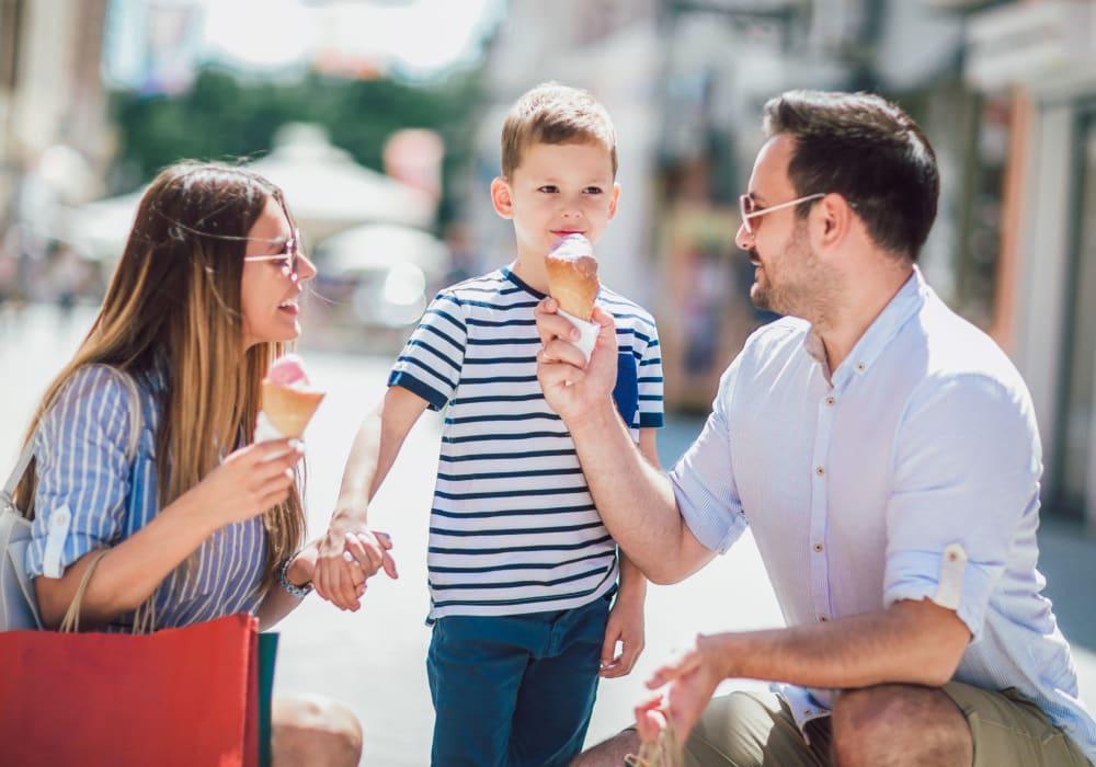 Family eating ice cream near Canterbury Apartments in Bridgeville, Delaware