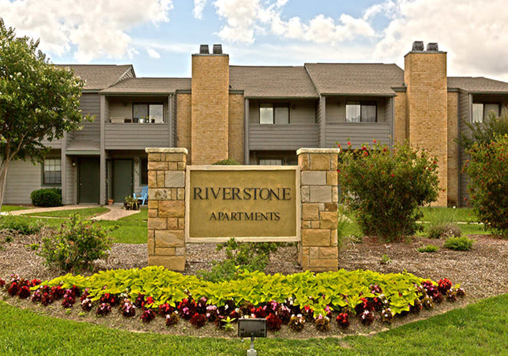 Sign at Riverstone Apartments in Bryan, Texas