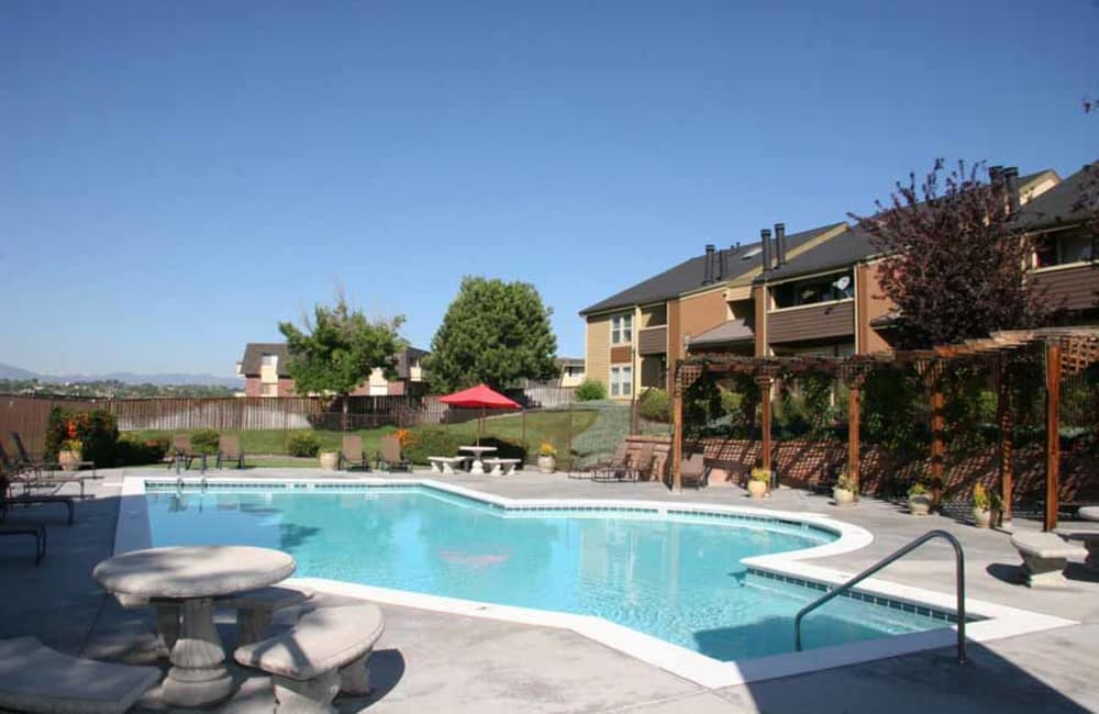 Take a dip in our refreshing swimming pool at Montair Apartment Homes in Thornton, CO