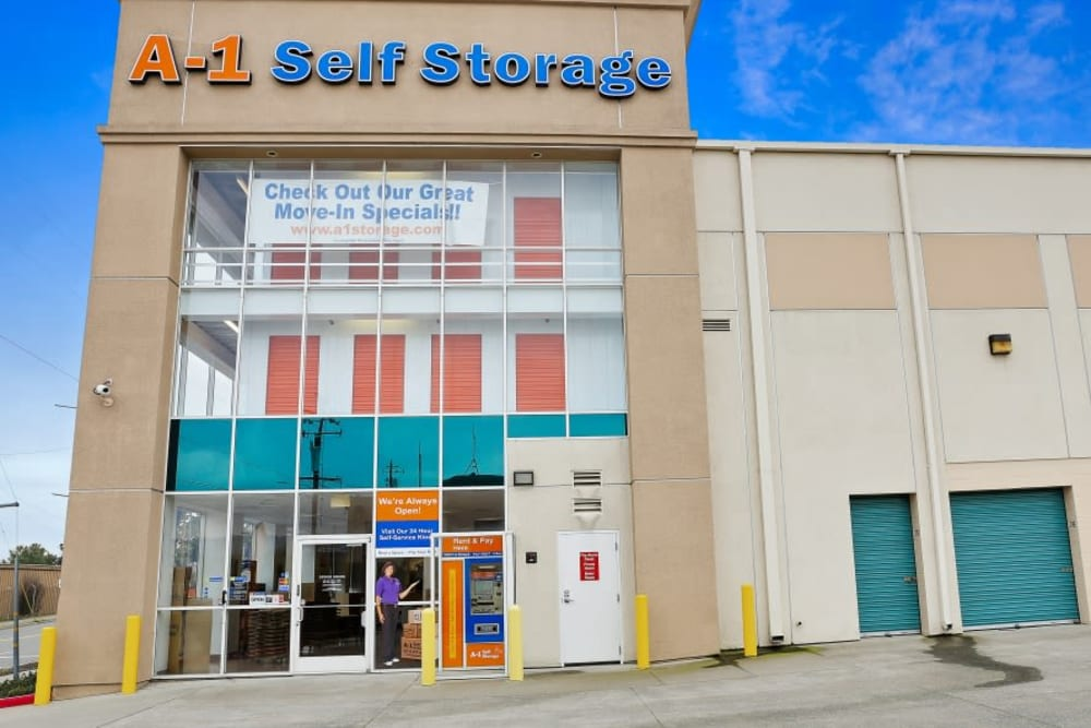 The front entrance to A-1 Self Storage in Oakland, California
