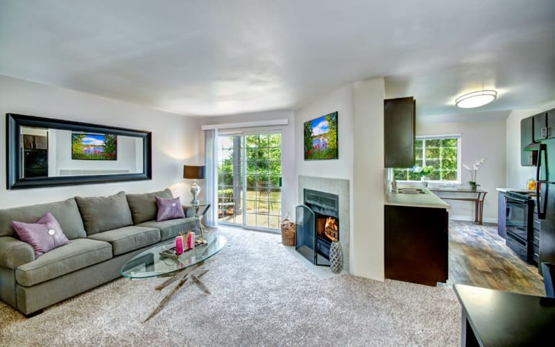 A spacious apartment with a private balcony at Wellington Apartment Homes in Silverdale, Washington