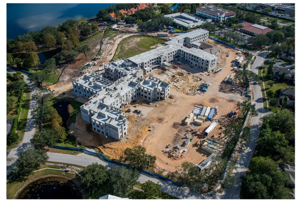 Aerial view of the construction at HarborChase of Dr. Phillips