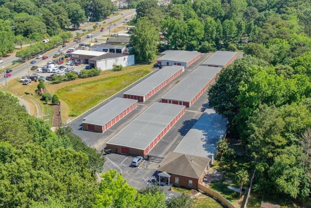 An aerial view of Victory Personal Storage in Yorktown, Virginia