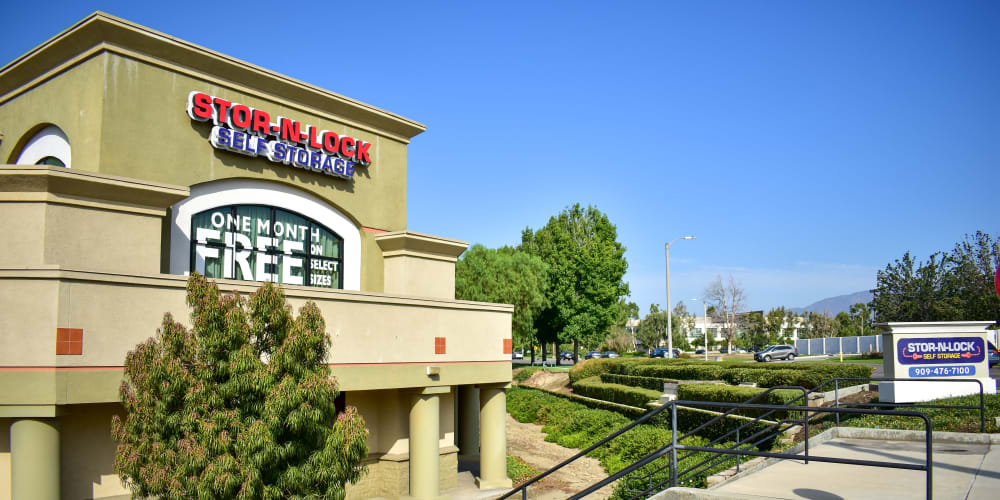 The front entrance to STOR-N-LOCK Self Storage in Rancho Cucamonga, California
