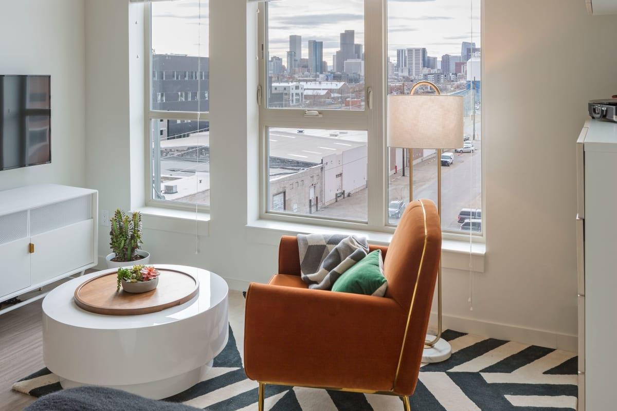 Modern decor in a model home at RiDE at RiNo in Denver, Colorado