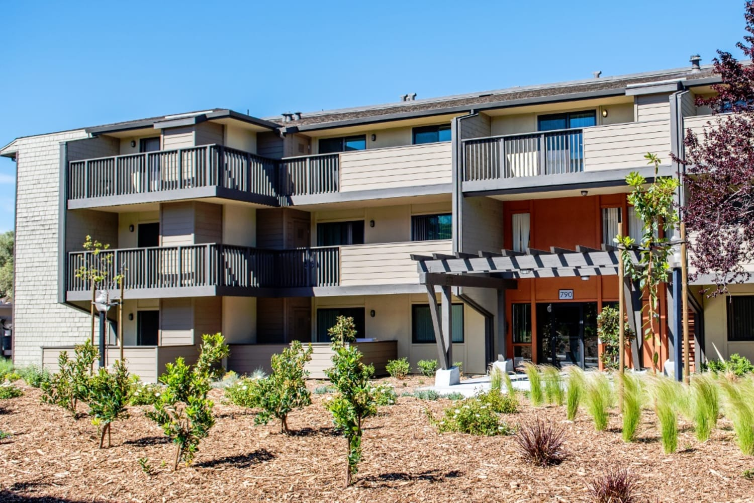 Harbor Cove Apartments in Foster City, California, has well-kept grounds