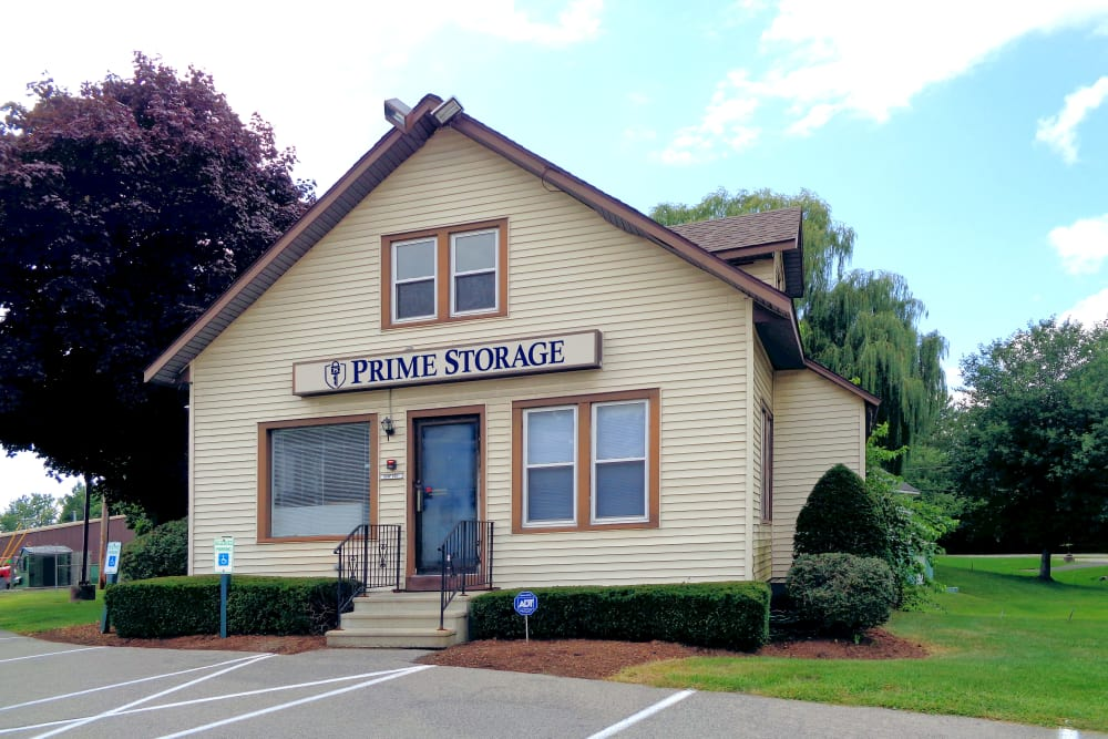 Exterior view of leasing office at Prime Storage in Latham, New York