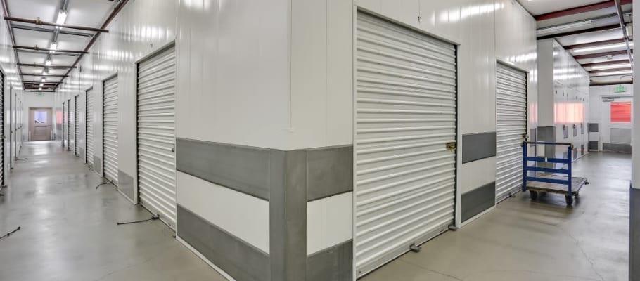 Indoor storage inside of immaculate hallways at A-1 Self Storage in Huntington Beach, California