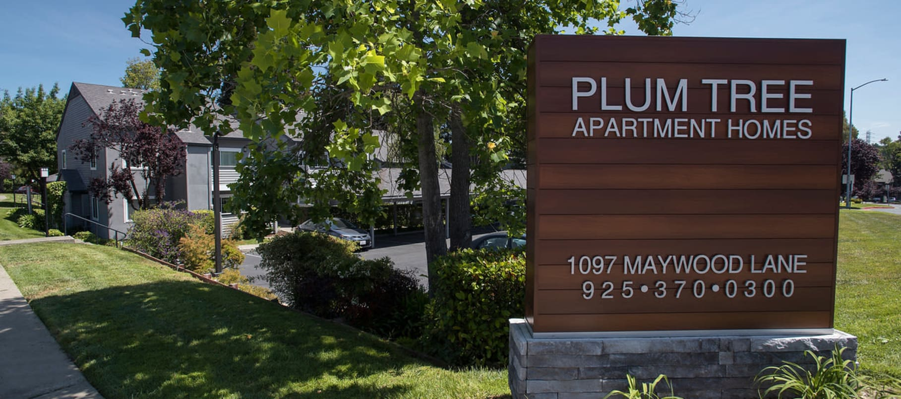 Signage outside of Plum Tree Apartment Homes in Martinez, California