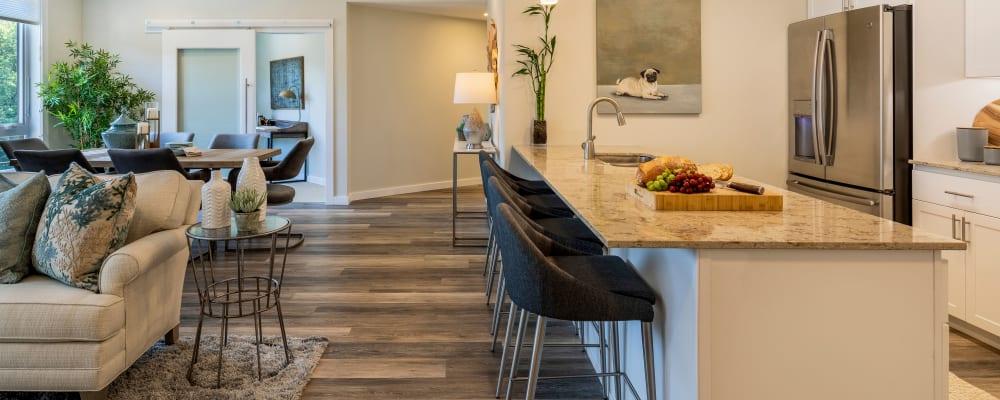 Upscale senior apartment with hardwood floors at The Springs at Lake Oswego in Lake Oswego, Oregon