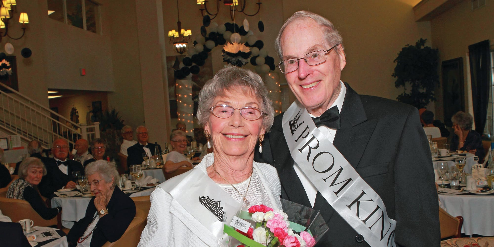 Prom king and queen at The Palms at LaQuinta Gracious Retirement Living in La Quinta, California