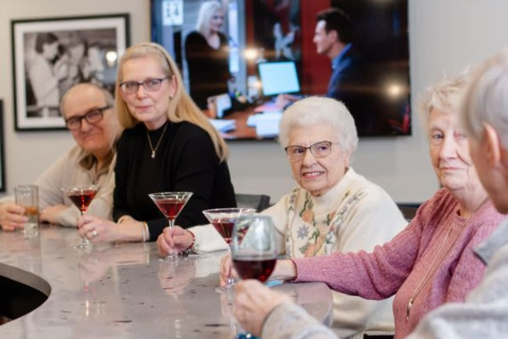 Residents enjoying a beverage together at the pub at Mercer Hill at Doylestown in Doylestown, Pennsylvania