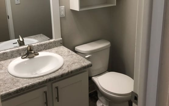 Bathroom at Eagle Crest Apartments in Lakewood, Colorado