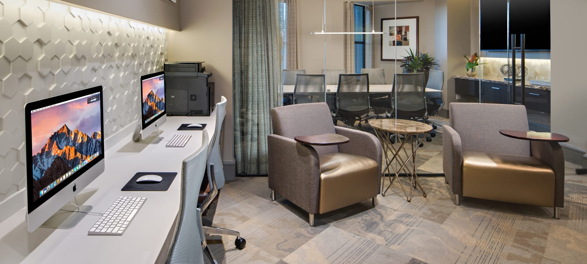 Business center with computers for resident use at The Core Scottsdale in Scottsdale, Arizona