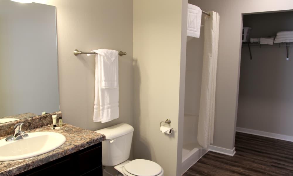 Bright bathroom at storage at Johnston Gardens in Johnston, Iowa