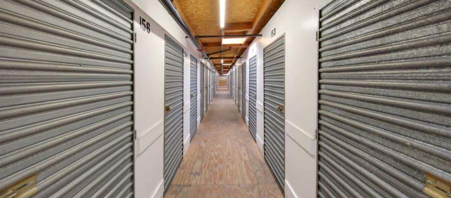 Rows of indoor storage at El Cajon, California at A-1 Self Storage