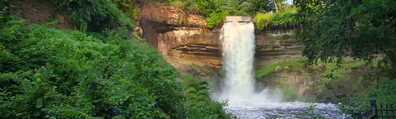 Minnehaha Falls near Oaks Hiawatha Station in Minneapolis, Minnesota
