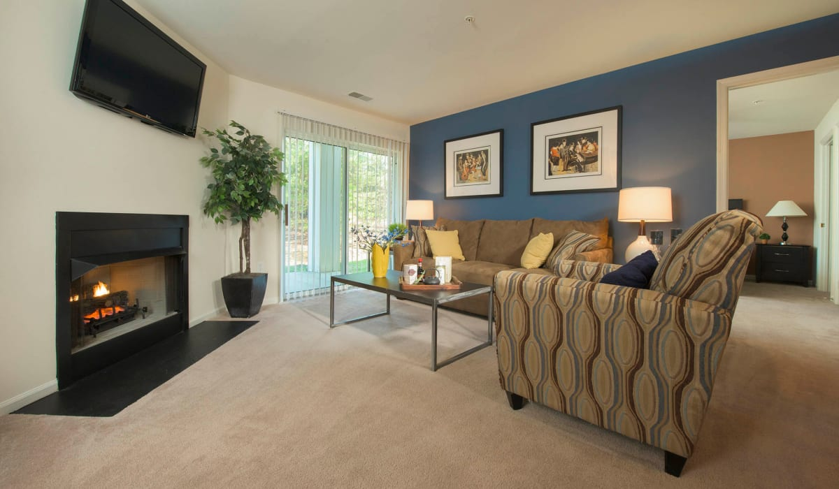 A large living room with a sliding glass door at Park Villas Apartments in Lexington Park, Maryland